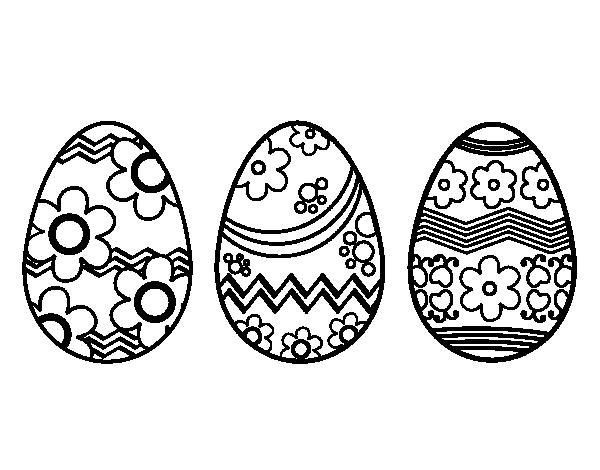 desenho de três ovos de páscoa para colorir colorir com
